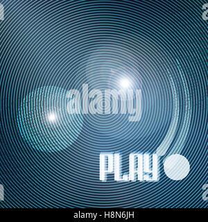 Abstract i cerchi blu su sfondo nero. vettore geometrico, sfondo lucido modello. cool design sfondo. music poster, Foto Stock