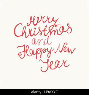 Natale e Anno Nuovo desiderio. Vettore manoscritta scritte Foto Stock