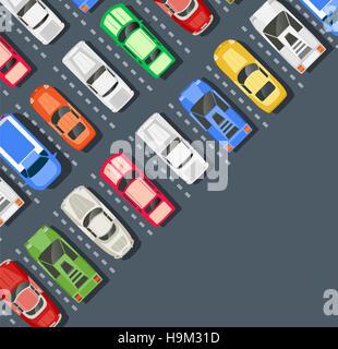 Vista dall'alto di una città parcheggio con una serie di vetture diverse Foto Stock