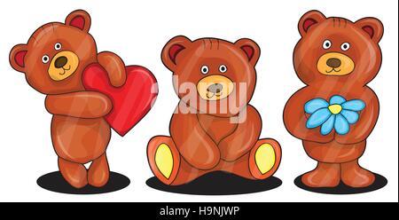 Illustrazione Vettoriale di orsacchiotto - cartoon impostato Foto Stock