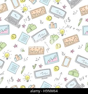 Finanziari e aziendali scarabocchi simboli vettoriali pattern senza giunture Foto Stock