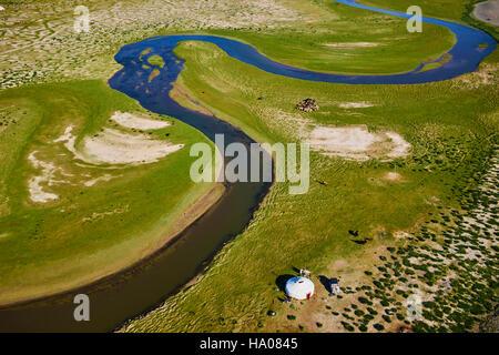 Mongolia, Bayan-Ulgii provincia, Mongolia occidentale, campo nomadi del popolo kazako nella steppa Foto Stock