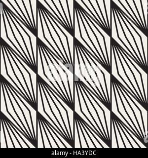 Vector Seamless in bianco e nero di linee a striscia modello geometrico Foto Stock