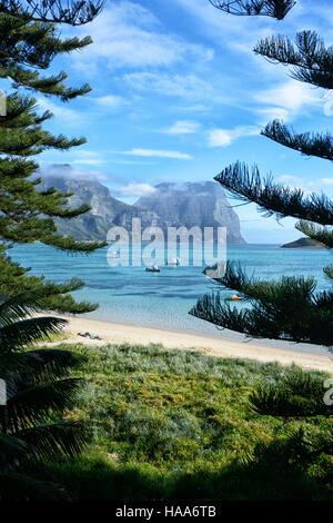Vista del Monte Gower, attraverso la laguna, Isola di Lord Howe, NSW, Australia Foto Stock