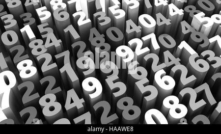 Abstract 3d illustrazione dei numeri casuali sullo sfondo Foto Stock