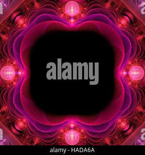 Abstract fractal rosa luminoso e cornice rossa computer immagine generata Foto Stock