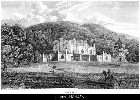 Una incisione di Havod (Hafod) Cardiganshire scansionati ad alta risoluzione da un libro stampato in 1812. Ritiene Foto Stock