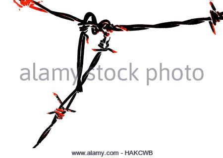 Stark, triste immagine di un nero e rosso il filo spinato cuore stagliano contro uno sfondo bianco. Foto Stock