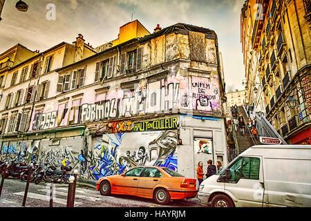 Paris street in stile vintage Foto Stock