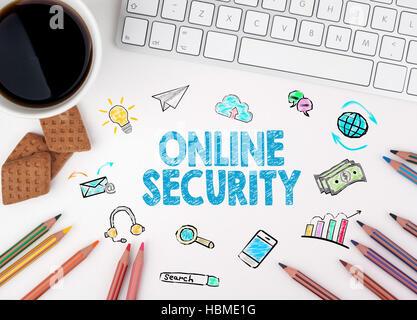 Sicurezza online, la concezione di business. White scrivania in ufficio Foto Stock