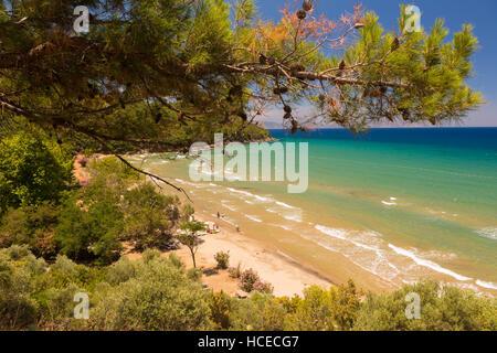 Belle spiagge di sabbia di Kusadasi parco nazionale nel Mare Egeo, Turchia Foto Stock