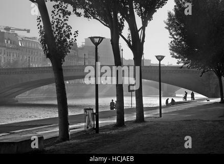 La mattina presto presso la riva sinistra del fiume Senna, vicino al Pont de la Tournelle, Parigi, Francia