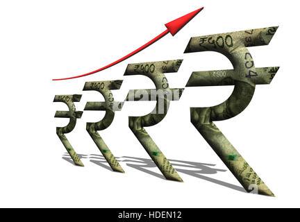 Una illustrazione che mostra la crescita economica attraverso il rupee simbolo con 500 rupee nota inset in il rupee simbolo.