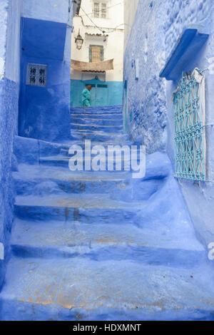 Le strade e i vicoli della medina di Chefchaouen, Marocco