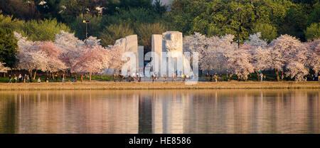 Vista panoramica della Martin Luther King Jr., Memorial, con la fioritura dei ciliegi lungo il bacino di marea in Washington, DC.