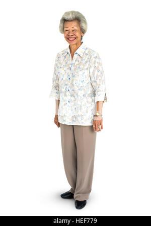 Senior adulto Donna sorridente felicità concetto verticale Foto Stock