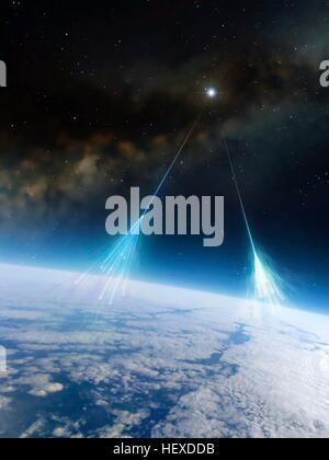 I raggi cosmici.Artwork di particelle ad alta energia di radiazioni da star nello spazio profondo (raggi cosmici) Foto Stock