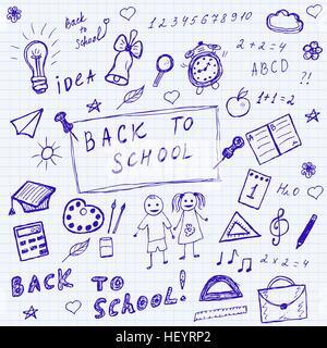 Si torna a scuola scarabocchi. Disegnata a mano scuola di set di icone. Schizzo scuola set di icone. Illustrazione Foto Stock