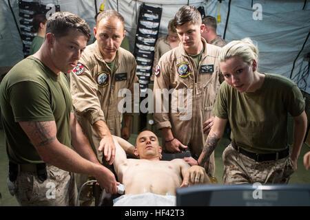 Stati Uniti Navy Lt. La Cmdr. Robert Oldt, medico di emergenza e il tenente Oscar Kizhner, un chirurgo di volo, Foto Stock