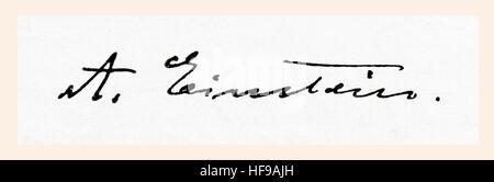 Firma di Albert Einstein, 1879 - 1955. Tedesco-nato fisico teorico. Da Meyers lessico, pubblicato 1924. Foto Stock