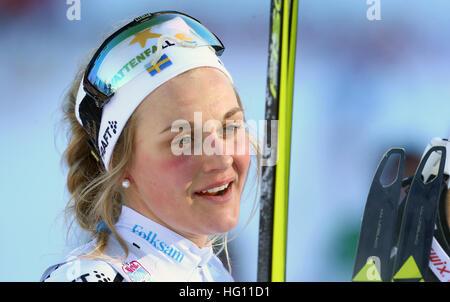 Oberstdorf, Germania. 03 gen 2017. Svedese Stina Nilssonb presso la FSI Tour de Ski la concorrenza a Oberstdorf Foto Stock