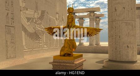Una statua di Iside al Tempio di Iside che è parte della religione dell'antica civiltà egizia. Foto Stock