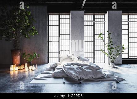 Camera Da Letto Romantica Con Candele : Romantico disordine interiore camera da letto con un letto