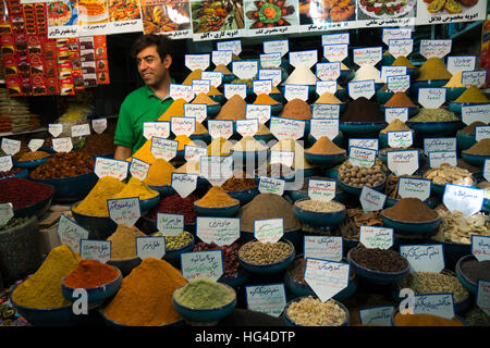 Negozio di spezie, Bazaar-e Vakil (Regent's Bazaar), Shiraz, Iran, Medio Oriente Foto Stock