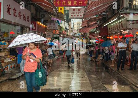 Pomeriggio piovoso su Gage Street, Central Hong Kong Cina Foto Stock