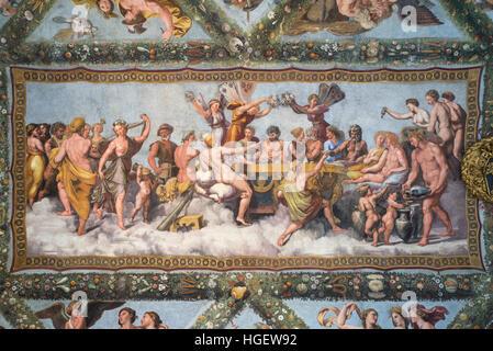 Roma. L'Italia. Villa Farnesina. Il Banchetto di Nozze di Amore e Psiche affresco di Raffaello e la sua officina, Foto Stock