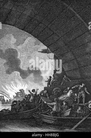 Una vista dal fiume Tamigi del Grande Incendio di Londra, un grande conflagrazione che spazzato attraverso le parti Foto Stock