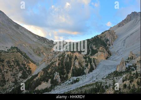 Alpi, Francia, erosione, impostazione sun, agenti atmosferici, montagne, tramonto, europa Foto Stock