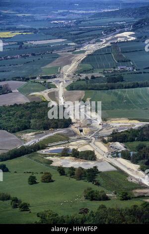 La costruzione in corso del treno Eurostar linea nel Kent. In Inghilterra. Regno Unito. Circa novanta Foto Stock
