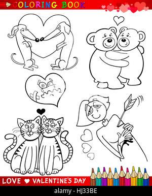 Illustrazione, impostare, cartoon, amore, in amore, cadde in amore, Valentino, prenota, nero Foto Stock