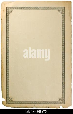 Vecchia età grungy prenota foglio di carta pagina vignette, verticale isolato copia seppia sfondo spazio Foto Stock