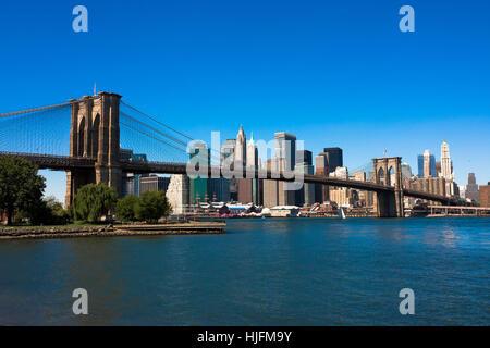 Stati Uniti d'America, America, skyline, diurno, Manhattan, nessuno, new york, blu, viaggi Foto Stock