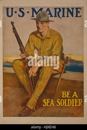 """Marine con un fucile, 'U.S. Marine, essere un soldato del mare"""", la guerra mondiale I poster di reclutamento, da Foto Stock"""