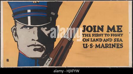 Close-Up Ritratto di Marine con un fucile, 'unirsi a me, il primo a combattere per terra e per mare, U.S. Marines', Foto Stock