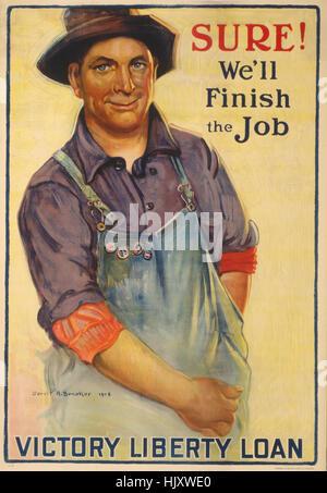 Uomo di raggiungere nella sua tuta Pocket, 'Sure!, saremo in grado di finire il lavoro!, vittoria prestito liberty', Foto Stock