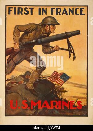Marines in combattimento, 'Prima in Francia e Stati Uniti Marines', I Guerra Mondiale U.S. Marines assunzione, Poster Foto Stock