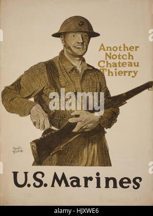 Marine intaglio intaglio nel fucile, 'un altro incavo, Chateau Thierry', U.S. Marines, guerra mondiale I poster Foto Stock