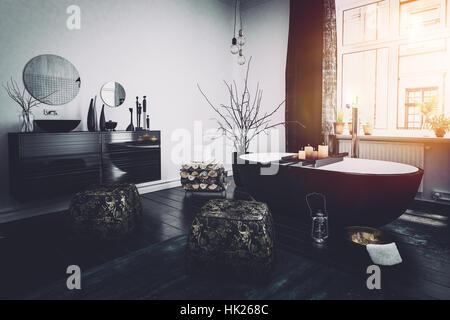 3d romantico elegante bagno interno con vasca da bagno completo con candele incandescente a - Fare il bagno con l assorbente interno ...