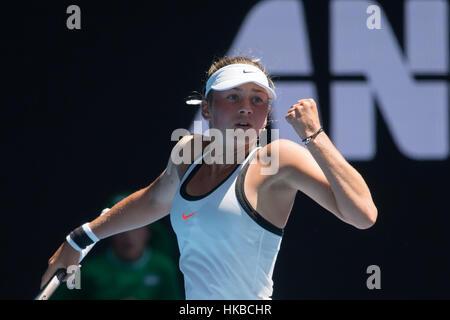 Melbourne, Australia. 28 gen, 2017. Marta Kostyuk dell'Ucraina reagisce durante le ragazze junior' singles match Foto Stock