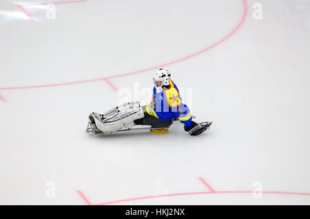 PODOLSK, Russia - 14 gennaio 2017: Unidentified portiere della squadra Ladoga di sledge hockey durante il gioco Foto Stock