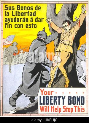 LIBERTY BOND 1917 manifesto americano in spagnolo e in inglese a promuovere la vendita di obbligazioni Liberty come Foto Stock