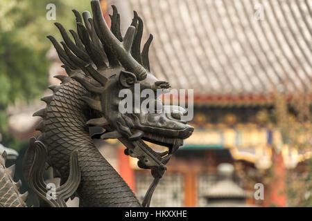 Drago di guardia, qilin statua, Palazzo d'Estate a Pechino, Cina Foto Stock