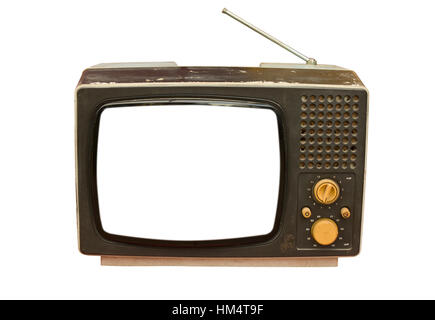 Vecchia TV vintage isolati su sfondo bianco Foto Stock