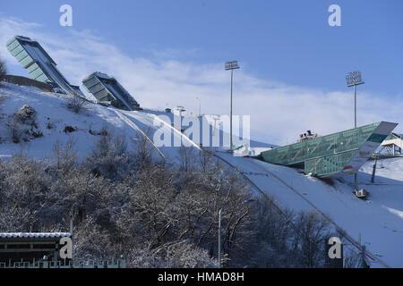Vista generale, 2 Febbraio 2017 : xxviii Universiade Invernale Almaty 2017 a Sunkar International Ski Jumping complessa, Foto Stock