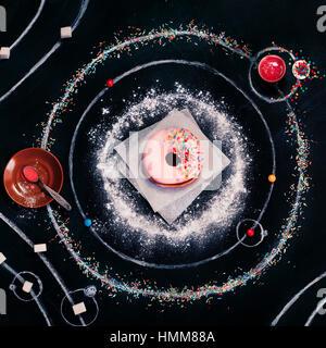 Caramelle nello spazio: sistema Donut Foto Stock