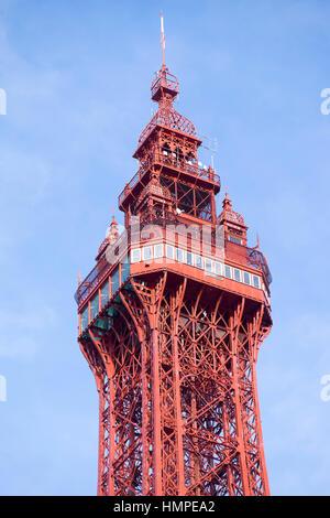 La Blackpool Tower, Blackpool lungomare Foto Stock